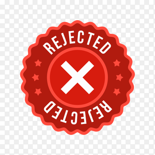 Rejected label sticker icon on transparent background PNG