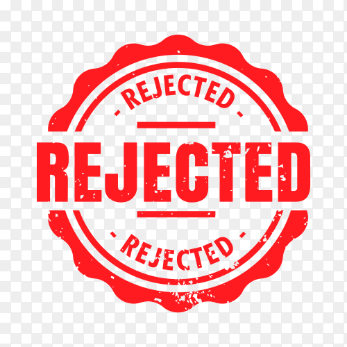 Rejected rubber stamp on transparent background PNG