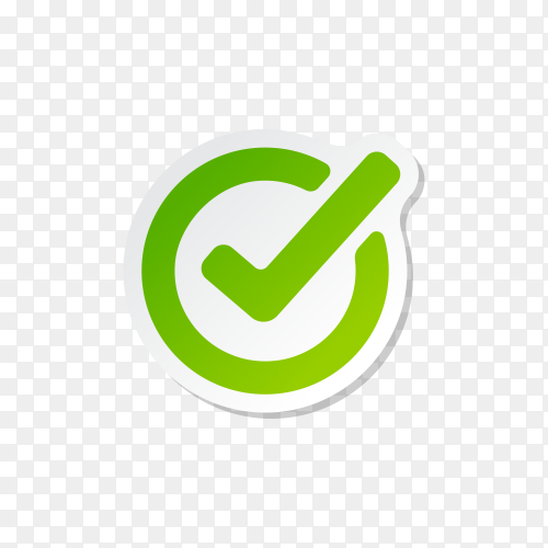 Right, Correct, check-in Green Icon Sign premium vector PNG