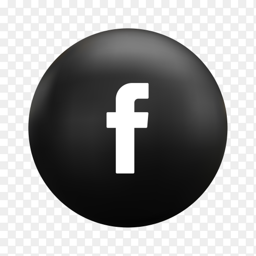 Round Facebook icon in flat design on transparent background PNG