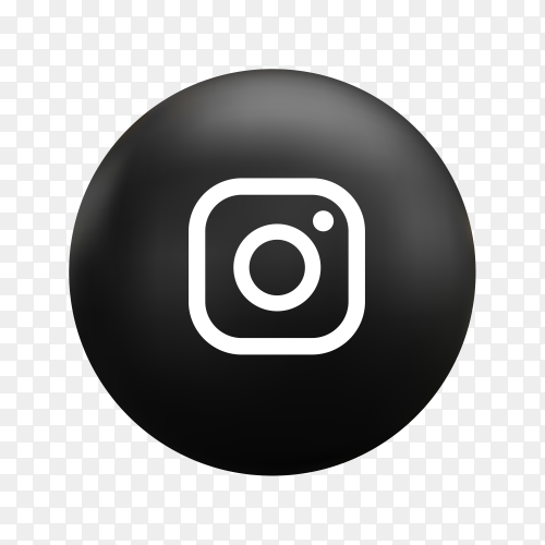 Round Instagram icon in flat design on transparent background PNG