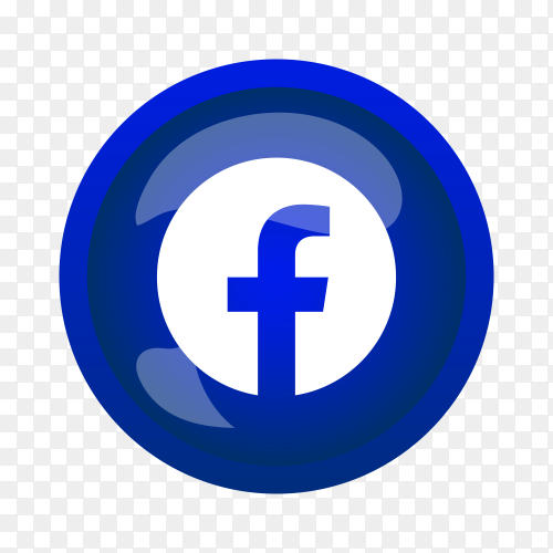 Round shiny silver frame Facebook icon button on transparent background PNG