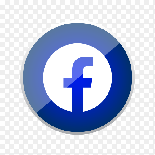 Round shiny silver frame Facebook icon button with gradient effect on transparent background PNG