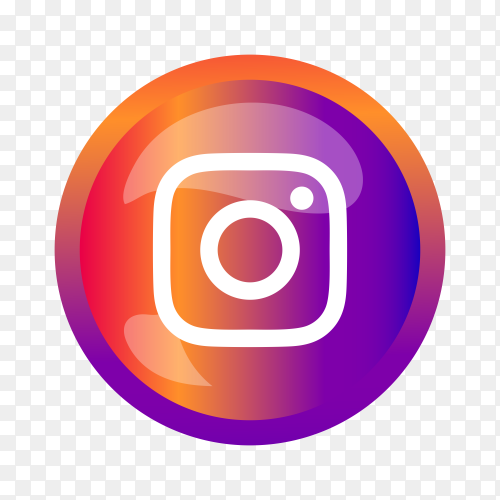 Round shiny silver frame Instagram icon button on transparent background PNG