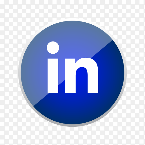 Round shiny silver frame Linkedin icon button with gradient effect on transparent background PNG