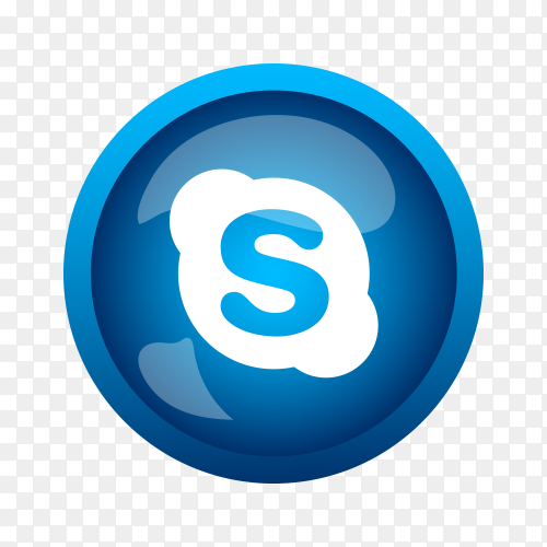 Round shiny silver frame Skype icon button on transparent background PNG