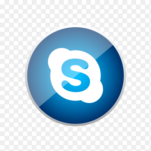 Round shiny silver frame Skype icon button with gradient effect on transparent background PNG