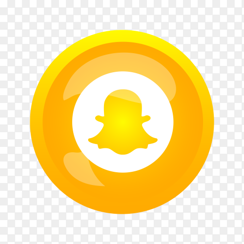 Round shiny silver frame Snapchat icon button on transparent background PNG