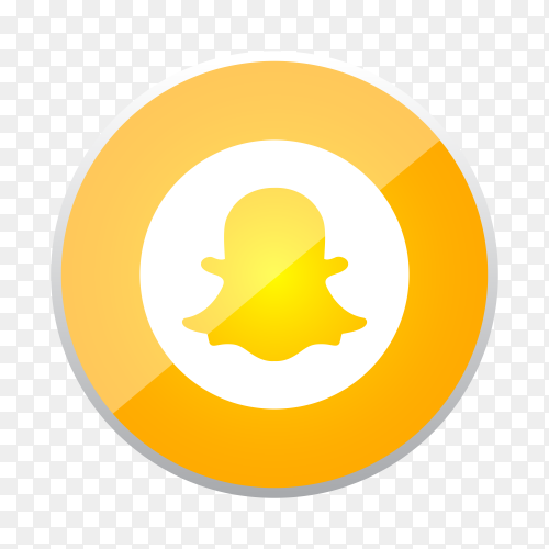 Round shiny silver frame Snapchat icon button with gradient effect on transparent background PNG
