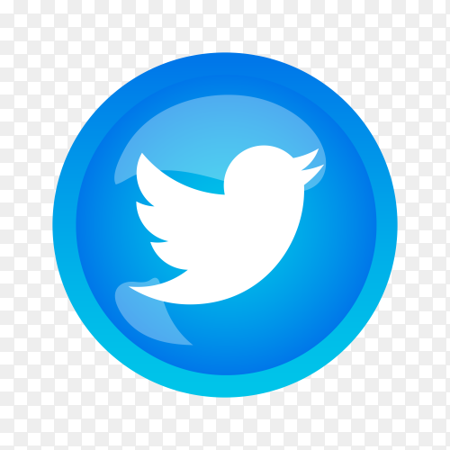 Round shiny silver frame Twitter icon button on transparent background PNG