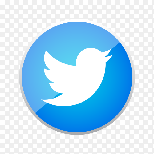 Round shiny silver frame Twitter icon button with gradient effect on transparent background PNG