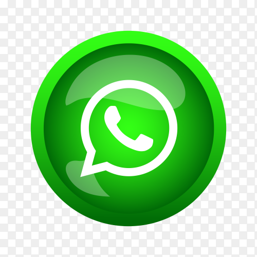 Round shiny silver frame Whatsapp icon button on transparent background PNG