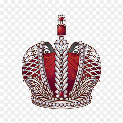 Royal crown isolated on transparent PNG