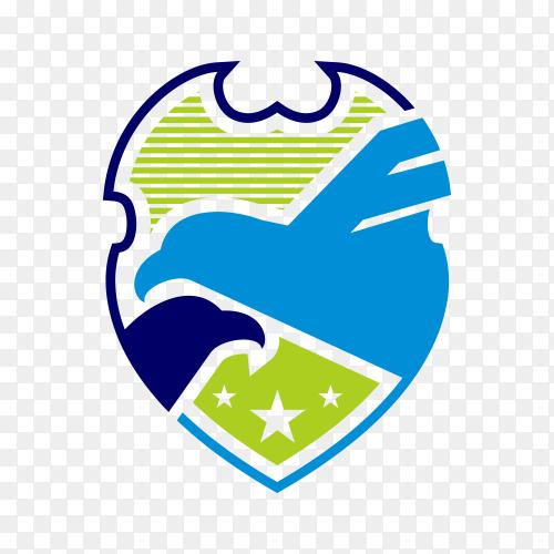 Security shield blue eagle logo design template on transparent background PNG