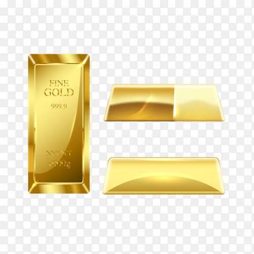 Set of gold bars isolated on transparent background PNG