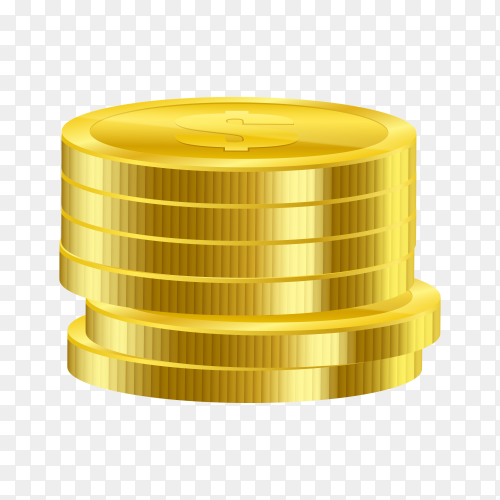 Shiny gold coins on transparent background PNG