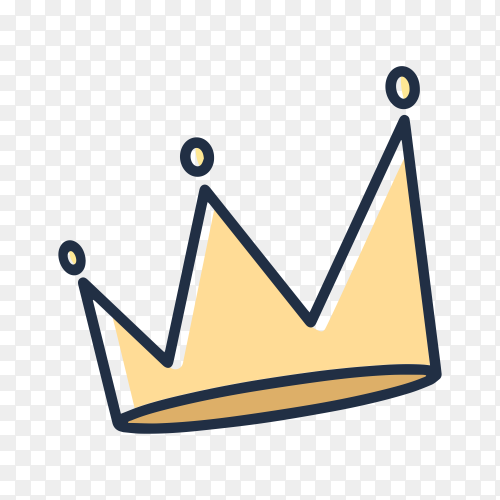 Sketchy yellow crown on transparent background PNG