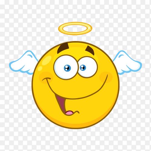 Smiling angel emoji face on transparent background PNG
