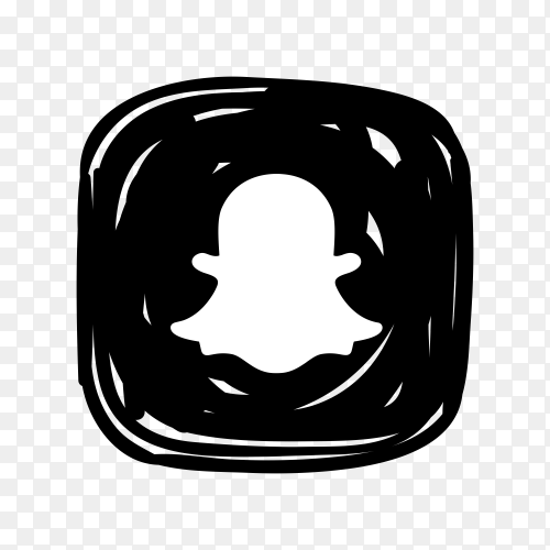 Snapchat icon in black color on transparent background PNG
