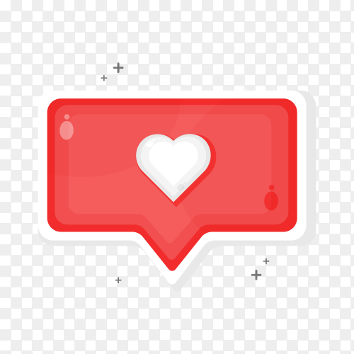 Social media like and favorite icons design on transparent background PNG