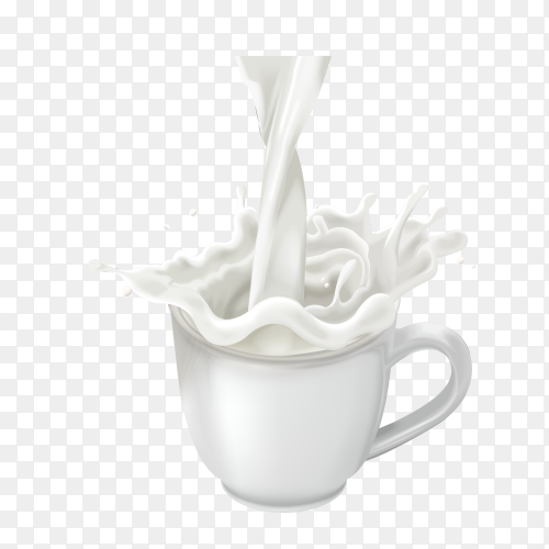 Splashing in a cup of milk on transparent background PNG