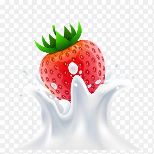 Strawberry falling into milk on transparent background PNG