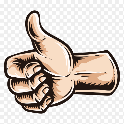 Thumbs up sign on transparent background PNG