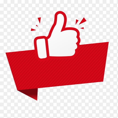 Thumbs up sticker with banner on transparent background PNG