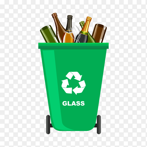 Trash bin with recycle symbol illustration on transparent background PNG
