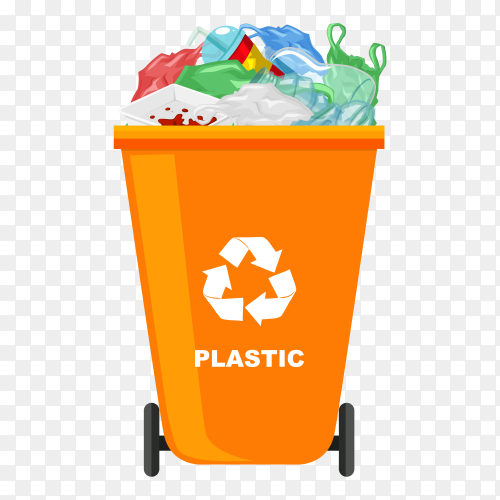Trash bin with recycle symbol on transparent background PNG