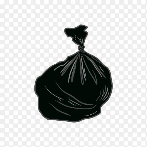 Trash black bag on transparent background PNG