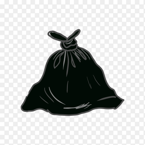 Trash black bag premium vector PNG