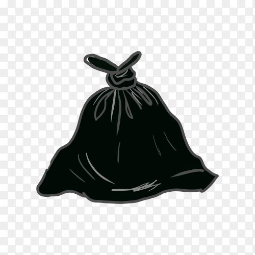 Trash black bag premium vector PNG