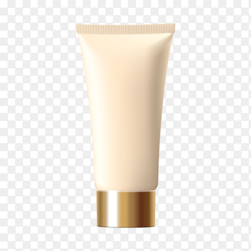Tube foundation golden cosmetic light on transparent background PNG