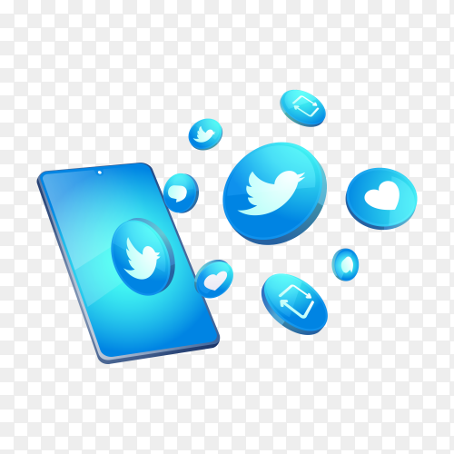 Twitter 3d social media icons with smartphone symbol on transparent background PNG