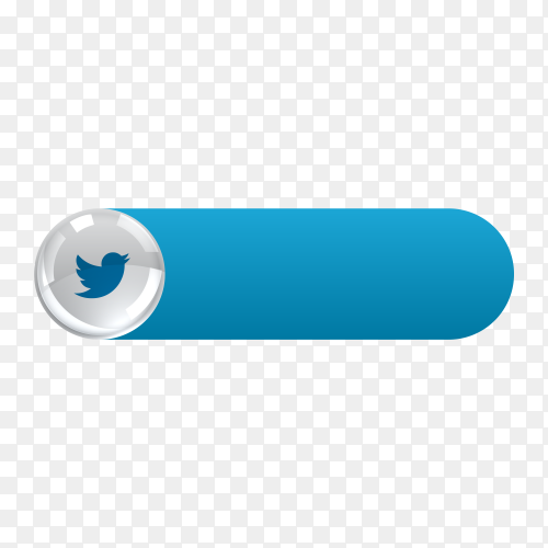 Twitter icon in banner lower third on transparent background PNG