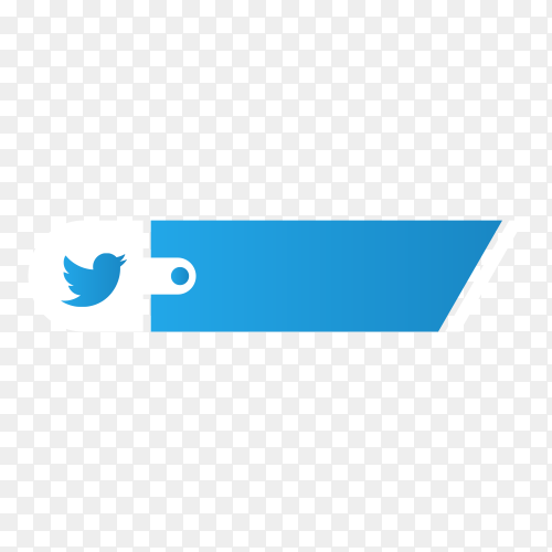 Twitter lower third icon isolated on transparent background PNG