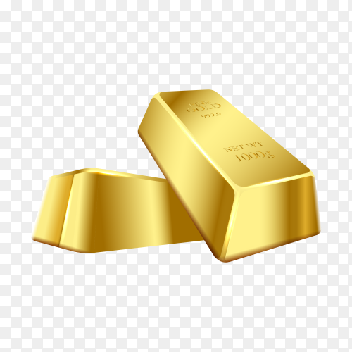 Two gold bars on transparent background PNG