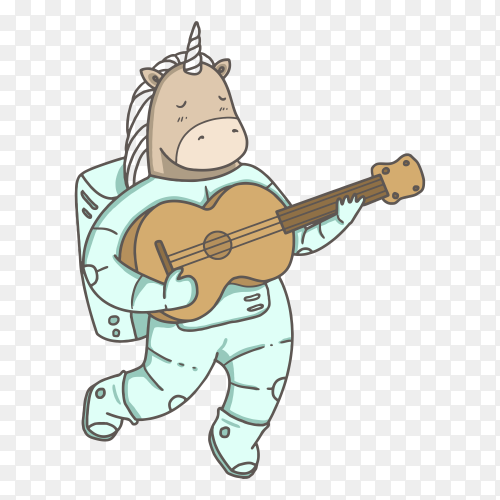 Unicorn astronaut space on transparent background PNG