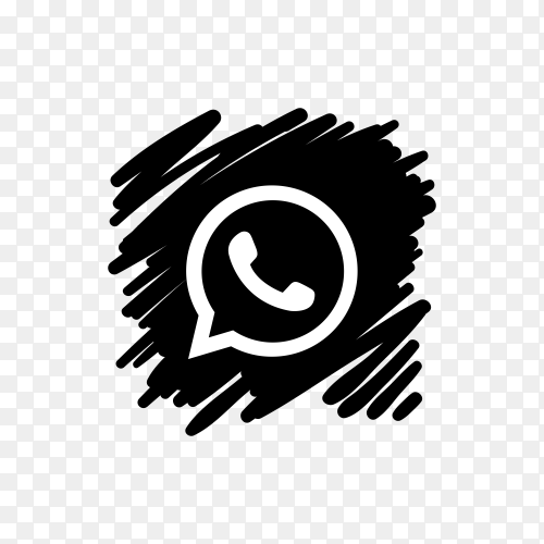 Whatsapp icon design with dark black brush on transparent background PNG