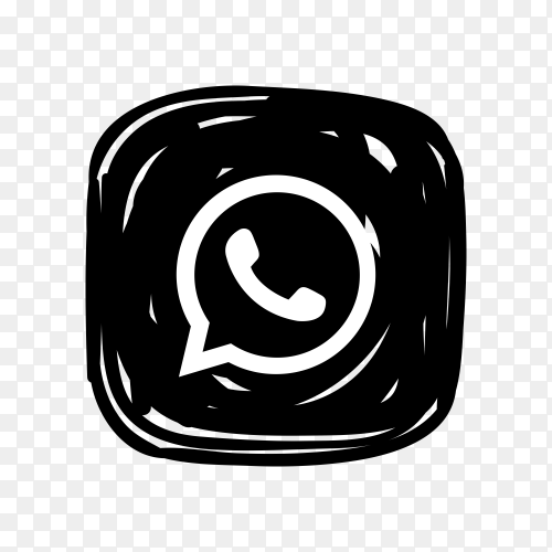 Whatsapp icon in black color on transparent background PNG
