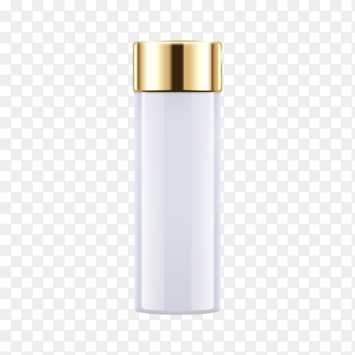 White cosmetic bottle on transparent background PNG