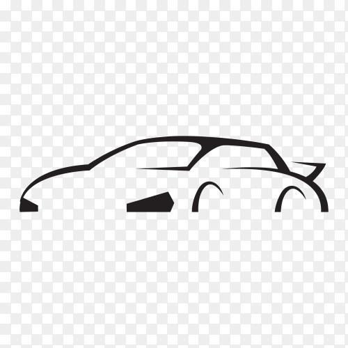 White silhouette car premium vector PNG
