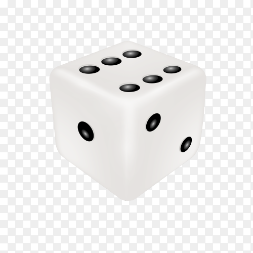 White win dice on transparent background PNG