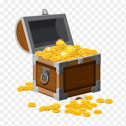 Wooden treasure chest with gold coins on transparent background PNG