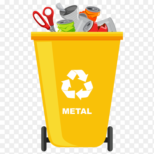Yellow Trash bin with recycle symbol premium vector PNG
