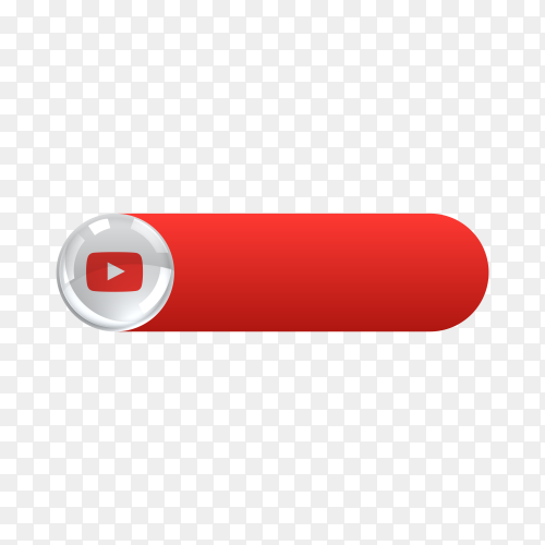YouTube icon in banner lower third on transparent background PNG