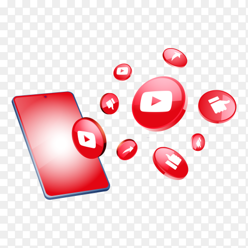 YouTube 3d social media icons with smartphone on transparent background PNG