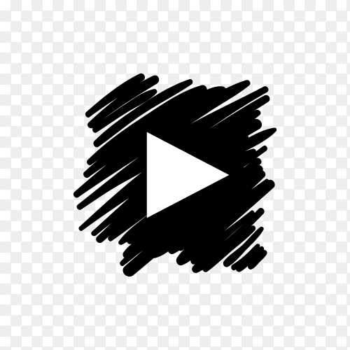 YouTube icon design with dark black brush on transparent background PNG