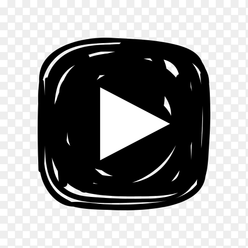 Youtube icon in black color on transparent background PNG